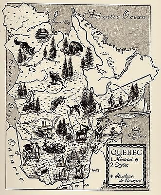 1960s QUEBEC CANADA Map of Canada Print Quebec Picture Map 1460