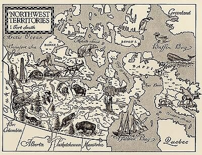Whimsical NORTHWEST TERRITORIES Map of Canada Print  Picture Map 1466