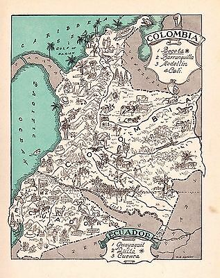 Whimsical COLOMBIA Map Ecuador Map South America Print 1940s Picture Map 1468