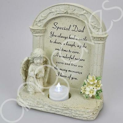 Special Dad Praying Angel With Flickering Tealight Graveside Memorial Plaque