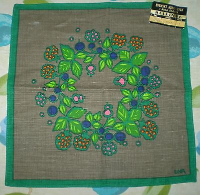 SWEDISH DOILY SIGNED UHR LINEN WITH LABEL INTACT VINTAGE 1960