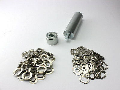 Oval Ösen Set Einschlagstempel 17 x 11 mm + 20 Ovalösen Messing Nickel