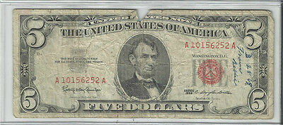 Series 1963 Us Note  $5 Bill ~~Tough Date~~Good
