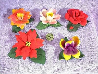 VINTAGE LOT OF 5 CAPODIMONTE ITALY FLOWERS RED PINK YELLOW PURPLE