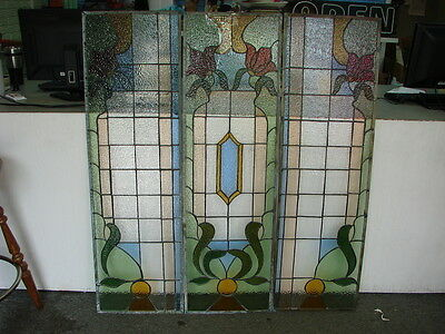 Bay Window Stained Glass Floral Tulips Multi-Colored Beautiful Home Decor