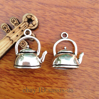 10pcs Charm 3D Teapot silver pendant DIY Jewelry Making Fit Bracelet 7587