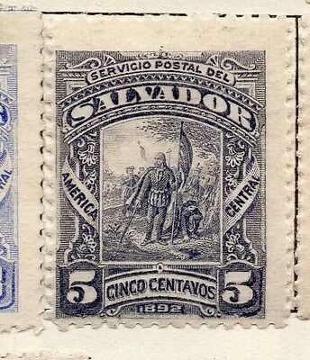 El Salvador 1891 Early Issue Fine Mint Hinged 5c. 143170