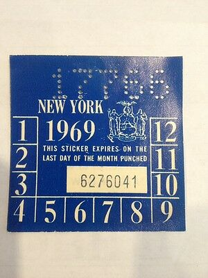 Original New Old Stock 1969 New York State Inspection Sticker Not A Copy