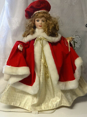 Vintage Telco MOTION-ette Animated Christmas Victorian Girl Lady In Red & Gold