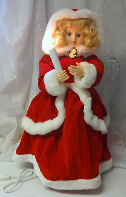 Vintage Telco MOTION-ette Animated Christmas Victorian Girl Lady In Red w Cameo