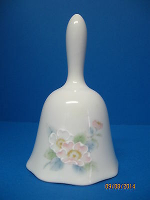 White dinner bell with pink & white flowers marked Peony Otagiri Japan
