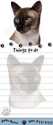 """Siamese Cat Magnetic List Pads"" Uniquely Shaped Sticky Notepad Measures 8.5 by"