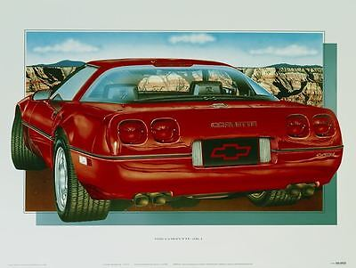 1990 Corvette Classic Car Poster Automotive Fine Art Print O Giclee Of Painting