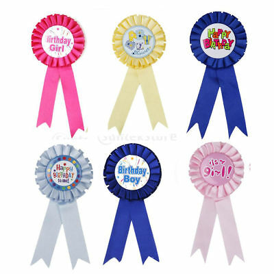Birthday Boys Girls Baby Show Party Prize Award Ribbon Rosette Badge Brooch Pins