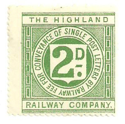 The Highland Railway Company 2D Letter Stamp Mint With Gum