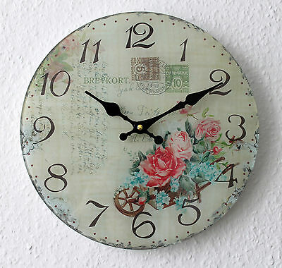 Wall Clock Roses Glass Ø 30cm Nostalgia Look Shabby Chic Watch Rose No. 117