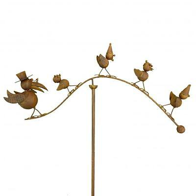 Spinning Balancing Crow Family Metal Garden Wind Spinner Ornament Animal