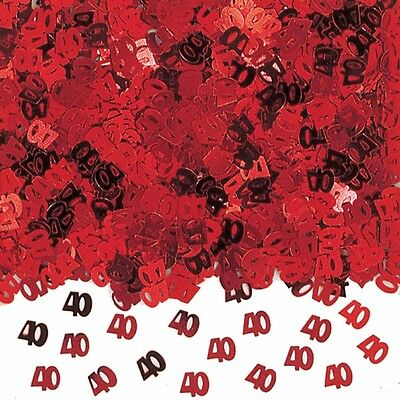 Red 40th Birthday / Ruby Wedding Anniversary Party Table Confetti Decorations