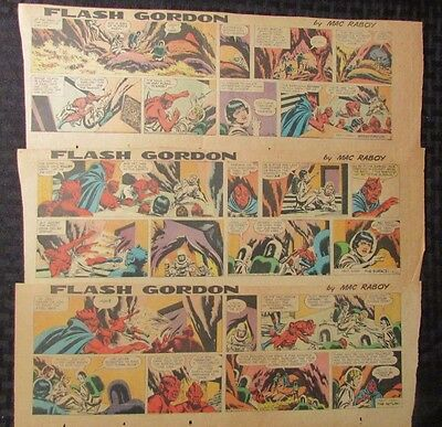 1966 FLASH GORDON Color Newspaper Strips by Mac Raboy LOT of 10 VG+ 5/15 - 7/24
