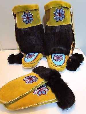 Gorgeous NATIVE AMERICAN MUKLUK AND GLOVE SET, 10 INCHES LONG, BEADED, AUTHENTIC