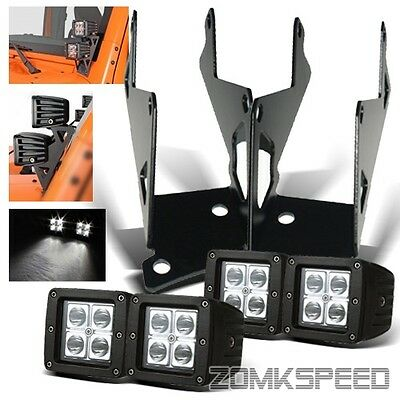 "07-15 JEEP WRANGLER JK A-Pillar Bracket + 4PC 3"" 12W Off Road LED Spot Light Bar"