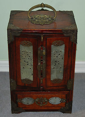 "Antique Rosewood Oriental Jewelry Box Carved Panels 12 1/2"" Tall"