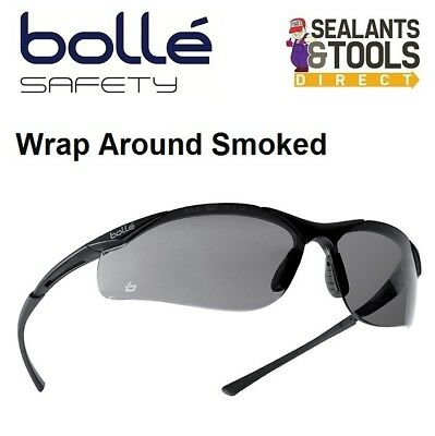 Bolle Contour Safety Glasses Smoked Sunglasses Wrap Around Work Spectacles