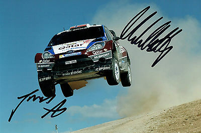 Mads OSTBERG & Jonas ANDERSSON WRC SIGNED AUTOGRAPH 12x8 Action Photo AFTAL COA
