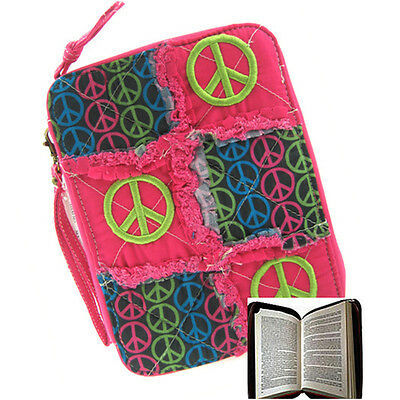 Pink Peace Sign Ragged Patchwork Bible Cover Case