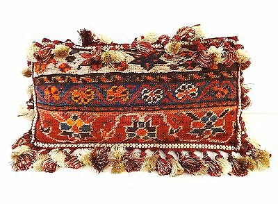 "Superb 19th c Tribal Kashqai Rug Fragment Pillow 10"" L x 18.5"" W"