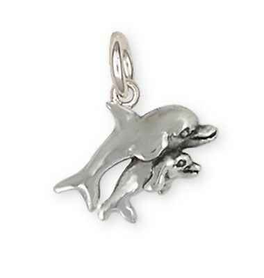Handmade Solid Sterling Silver Dolphin And Baby Charm Jewelry DPH1-C