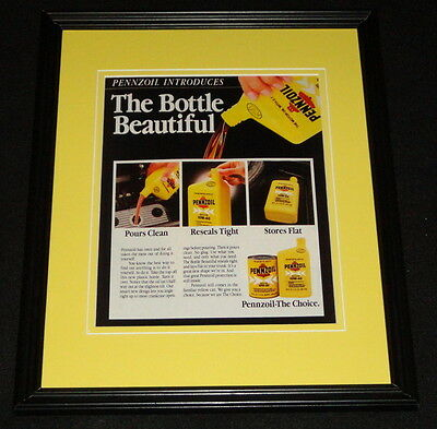 1985 Pennzoil Bottle Beautiful Framed 11x14 ORIGINAL Advertisement