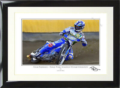 FRAMED Nicki Pedersen Art Print Signed and Numbered by Artist Tom Dunn.
