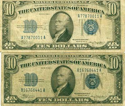 $10 1934 A Fr. 1702 Silver Certificates (2) Notes