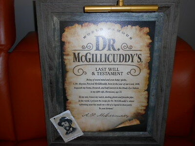 Doctor McGillicuddy's Last Will & Testament Wood Sign Lighted New! NEAT! 33 x 26
