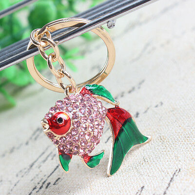 Cute Fish Goldfish New Pendant Rhinestone Crystal Key Ring Keychain Lovely Gift