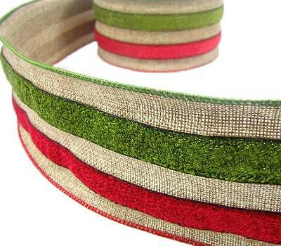 """Christmas Red Green Rustic Burlap Rustic Primitive Wired Wide Ribbon 4""""W PBTY"""