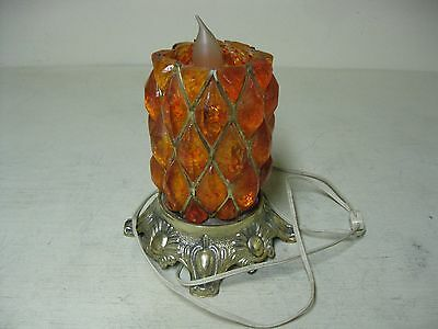 Vintage Lucite Orange Electric Table Lamp Works