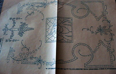 RARE ANTIQUE 1910s FRENCH EMBROIDERY TRANSFER PATTERN MOTIFS *PARIS*