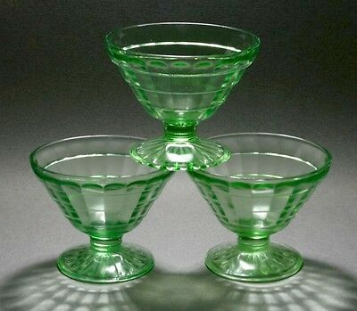 Lot of 3 Anchor Hocking Green Depression Glass Block Optic Footed Sherbets