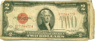 $2 1928 Red Seal Legal Tender (8) Notes