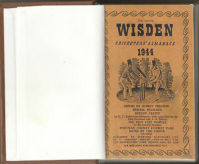 Cricket  -  Wisden - Very  Rare  Cricketers'  Almanack  81St  Edition  For  1944