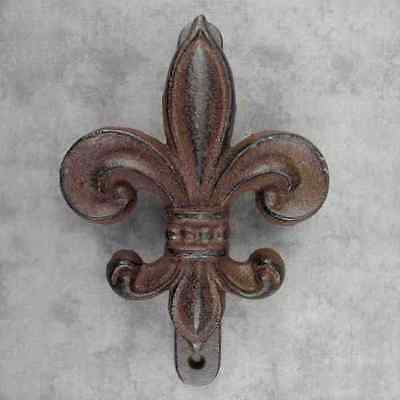 FLEUR-DE-LIS FRENCH ROYAL CAST IRON DOOR KNOCKER ~ Rustic Antiqued Brown ~