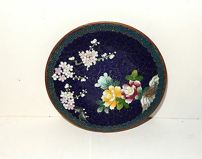 """Small Royal Blue Floral Cloisonne Enamel Inaba 4""""3/4 Plate Signed"""