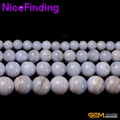 Natural Blue Chalcedony Round Stone Beads For Jewelry Making Gemstone 6mm-12mm