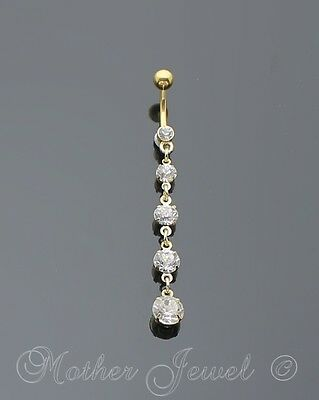 14G Five Stone Clear Crystal Yellow Gold Plated Surgical Steel Belly Bar Ring