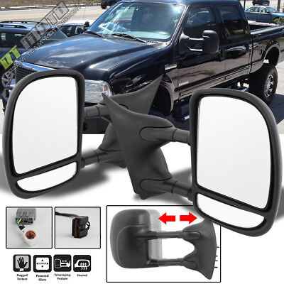 Left+Right 99-07 Ford F250~F550 SuperDuty Telescoping Power+Heat Side Tow Mirror