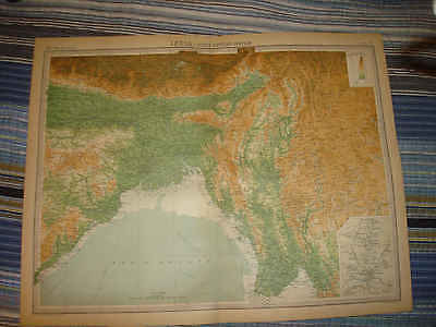 Huge Antique 1922 North Northern India Times Atlas Map Calcutta Colonial Superb