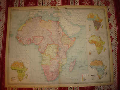 Superb Antique 1922 Africa Times Atlas Political Map Race Ethnic Census Colonial