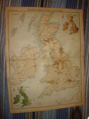 Antique 1922 England Ireland Scotland Times Atlas Map Railroad Railway Industry